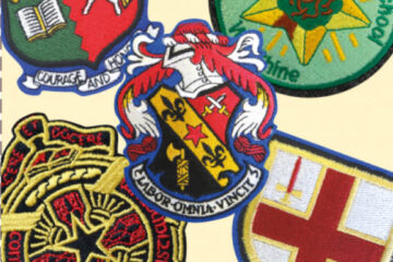 Embroidered logos, crests, names etc