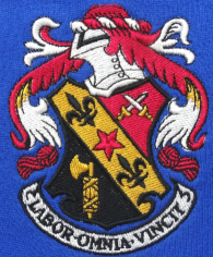 Embroidered and printed garments - Complex multi-colour crest embroidery
